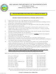 "Instructions for Form TE-2000 ""Driveway Agreement (Permit) Application"" - Oklahoma"