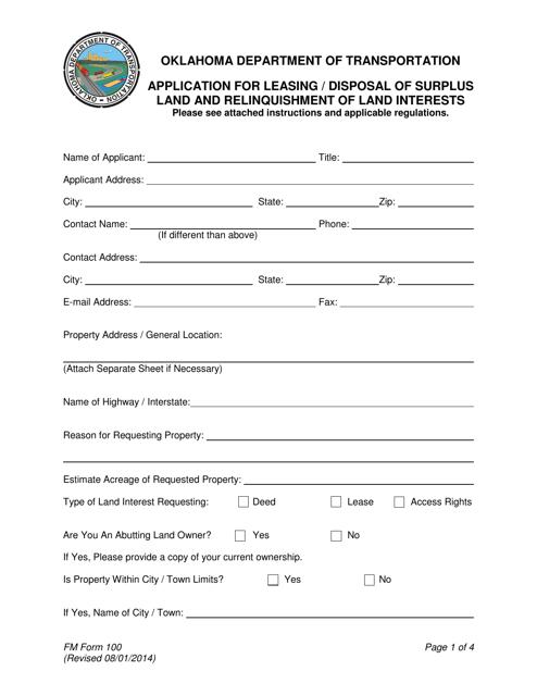 FM Form 100  Printable Pdf