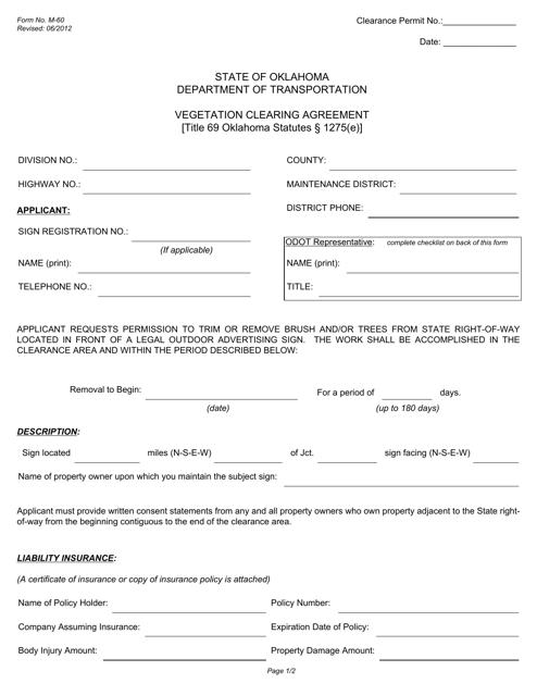 Form M-60  Printable Pdf