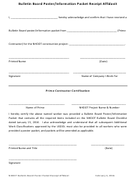 """Bulletin Board Poster/Information Packet Receipt Affidavit"" - New Hampshire"
