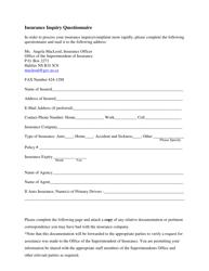 """Insurance Inquiry Questionnaire"" - Nova Scotia, Canada"
