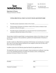 """""""Extra-provincial Trust Account Filing Questionnaire"""" - Nova Scotia, Canada"""