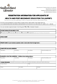 """""""Registration Information for Applicants of Health and Post- Health and Post-secondary Education Tax (Hapset)"""" - Newfoundland and Labrador, Canada"""