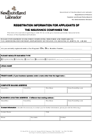 """""""Registration Information for Applicants of the Insurance Companies Tax"""" - Newfoundland and Labrador, Canada"""
