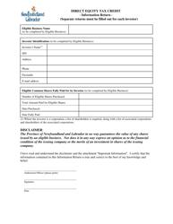 """Direct Equity Tax Credit Program Information Return"" - Newfoundland and Labrador, Canada"
