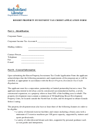 """""""Resort Property Investment Tax Credit Application Form"""" - Newfoundland and Labrador, Canada"""
