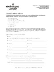 """Application to E-File Returns and Payments"" - Newfoundland and Labrador, Canada"