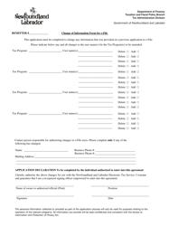 """Change of Information Form for E-File"" - Newfoundland and Labrador, Canada"