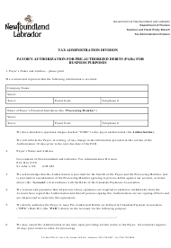 """""""Payor's Authorization for Pre-authorized Debits (Pads) for Business Purposes"""" - Newfoundland and Labrador, Canada"""