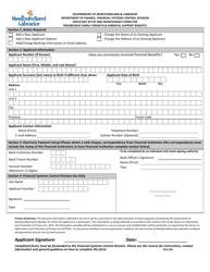 """Form OCG301 """"Applicant Setup and Maintenance Form for Progressive Family Growth & Parental Support Benefits"""" - Newfoundland and Labrador, Canada"""