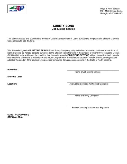 """Surety Bond Job Listing Service"" - North Carolina Download Pdf"