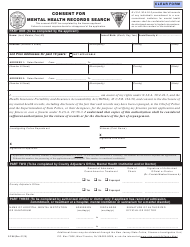 """Form S.P.66 """"Consent for Mental Health Records Search"""" - New Jersey"""