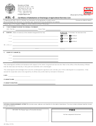 "Form ASL-2 (441) ""Certificate of Satisfaction of Discharge of Agricultural Services Lien' "" - Oregon"