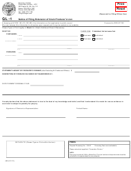 "Form GL-1 (450) ""Notice of Filing Extension of Grain Producer's Lien"" - Oregon"