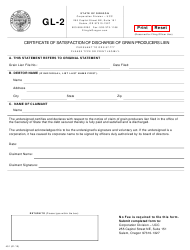 "Form GL-2 (451) ""Certificate of Satisfaction of Discharge of Grain Producers Lien"" - Oregon"