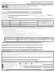 """Form DOH-4456 """"Medical Documentation for Wic Formula and Approved Wic Foods for Women, Infants and Children"""" - New York"""