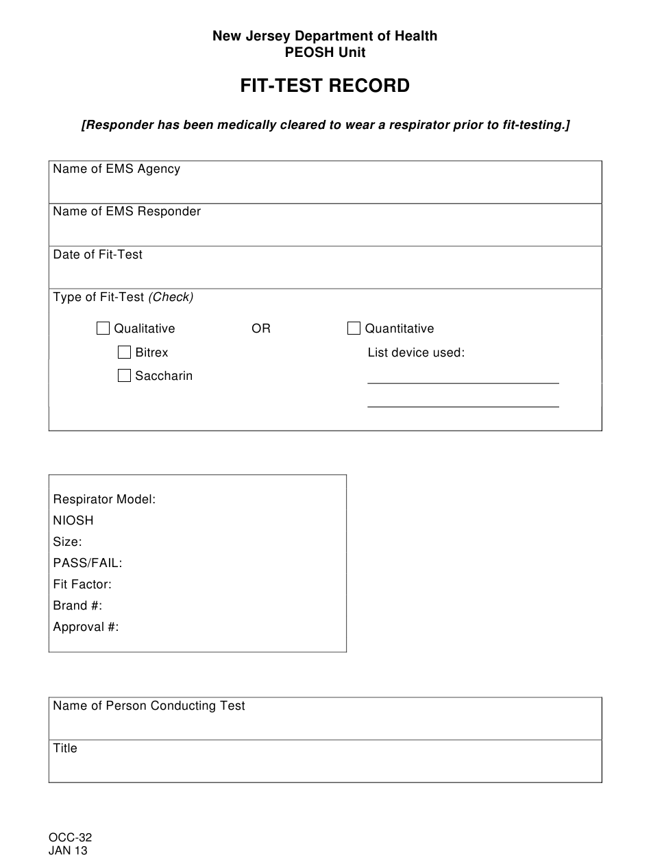 Form Occ 32 Download Printable Pdf Or Fill Online Fit Test Record New Jersey Templateroller