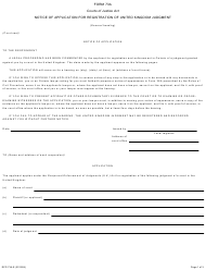 "Form 73A ""Notice of Application for Registration of United Kingdom Judgment"" - Ontario, Canada"