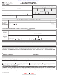"""Form VSA796 """"Application to Add Paternity Information"""" - British Columbia, Canada"""