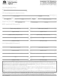 "Form VSA715 ""Consent of Parents (Or Legal Guardians)"" - British Columbia, Canada"