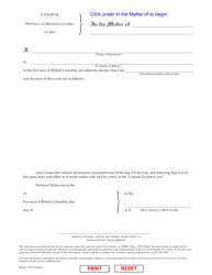 "Form VSA607 ""Statutory Declaration"" - British Columbia, Canada"