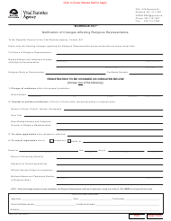 """Form VSA705 """"Notification of Changes Affecting Religious Representative"""" - British Columbia, Canada"""