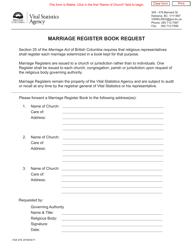 "Form VSA476 ""Marriage Register Book Request"" - British Columbia, Canada"