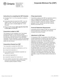"Form CT23 (2496) Schedule 101 ""Corporate Minimum Tax (Cmt)"" - Ontario, Canada"