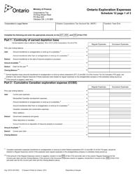 "Form 1537A Schedule 12 ""Ontario Exploration Expenses"" - Ontario, Canada"