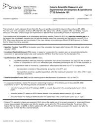 "Form CT23 (2083D) Schedule 161 ""Ontario Scientific Research and Experimental Development Expenditures"" - Ontario, Canada"
