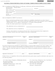 """Form DC-102C """"Notification/Certification of Work Completion/Compliance Form"""" - New Jersey"""