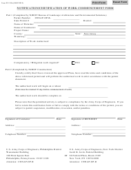 """Form DC-102S """"Notification/Certification of Work Commencement Form"""" - New Jersey"""