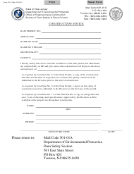 """Form DC-103S """"Dam Safety and Flood Control Completion Notice"""" - New Jersey"""