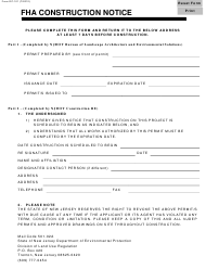 """Form DC-101 """"Fha Construction Notice"""" - New Jersey"""