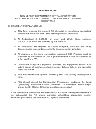 """Instructions for Form DC130 """"Re's EEO, on-The-Job Training and Dbe/Esbe and Sbe Checklist"""" - New Jersey"""