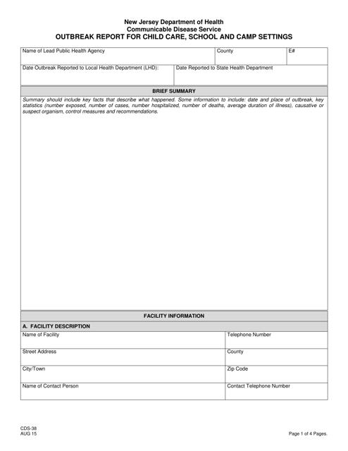 Form CDS-38  Printable Pdf