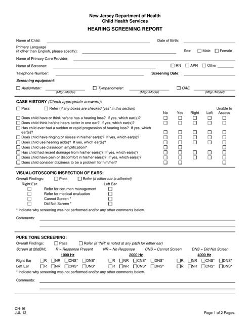 form ch 16 download printable pdf or fill online hearing. Black Bedroom Furniture Sets. Home Design Ideas