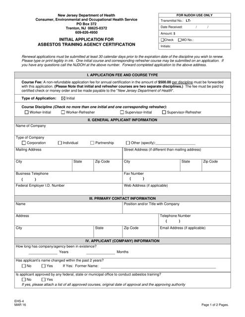 Form EHS-4  Printable Pdf