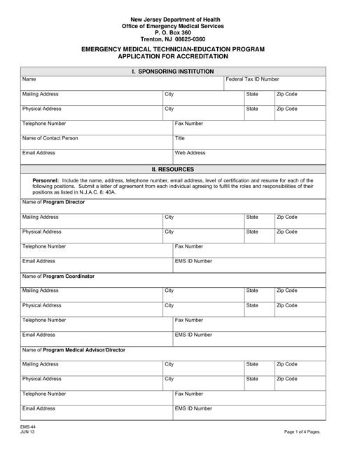 Form EMS-44  Printable Pdf