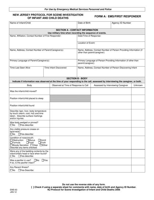 Form A (EMS-63)  Printable Pdf