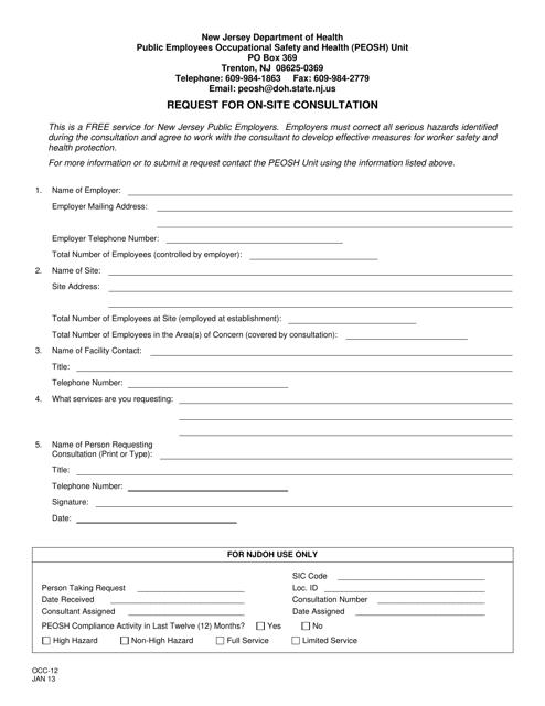 Form OCC-12  Printable Pdf