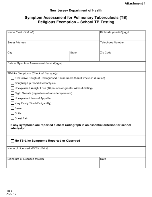 Form TB-8 Attachment 1  Printable Pdf