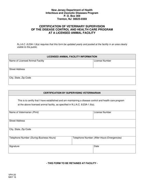Form VPH-20  Printable Pdf