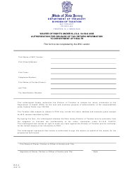 "Form WIC-8 ""Waiver of Rights Under N.j.s.a. 54:50-8 and Authorization for Release of Tax Return Information to Department of Health"" - New Jersey"