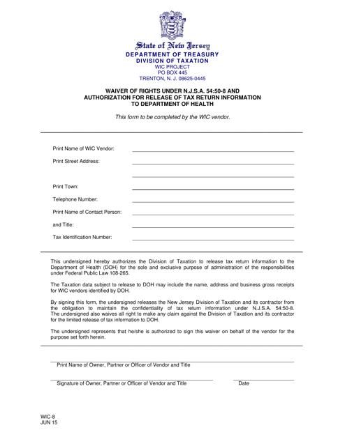 Form WIC-8  Printable Pdf