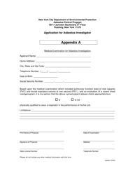 "Appendix A ""Application for Asbestos Investigator"" - New York City"
