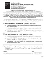 """Employment Law Subject Matter Panel Qualification Form"" - Oregon"
