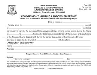 "Form BUS11007 ""Coyote Night Hunting Landowner Permit"" - New Hampshire"