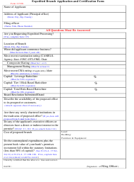 "Form 115 EX ""Expedited Branch Application and Certification Form"" - New Jersey"