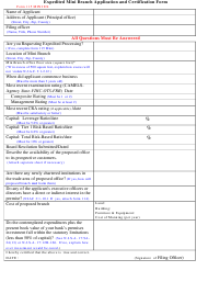 "Form 115 MINI EX ""Expedited Mini Branch Application and Certification Form"" - New Jersey"
